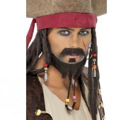 Bigote, Mosca y Barba color Castaño para Piratas