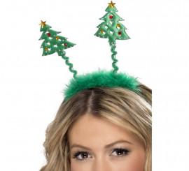 Diadema de Árboles de Navidad con Marabú Verde