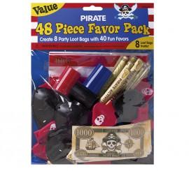48 Juguetes del Tesoro Pirata con bolsas para cumpleaños
