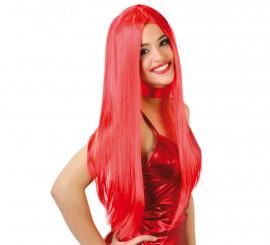 Peluca melena lisa roja de Diablesa para Halloween