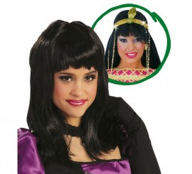 Peluca Cleopatra negra. Peluca morena c/ flequillo
