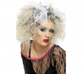 Perruque des Années 80 Blonde Frisée avec noeud