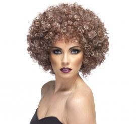 Peluca Afro color Castaño Cobrizo a mechas