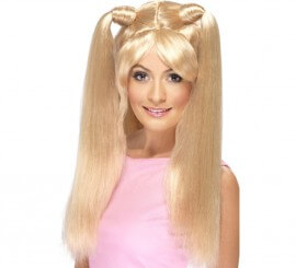 Perruque Pop Star Baby Années 90 Blonde à couettes