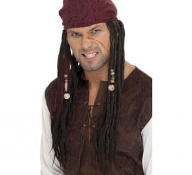 Peluca Negra y Bandana Roja para Pirata