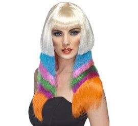 Peluca Fashion multicolor de los Años 80 para Mujer