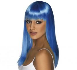 Peluca Melena Larga Lisa Azul Cobalto Neón o Fluorescente