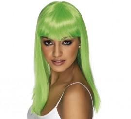 Peluca Melena Larga Lisa color Verde Neón o Fluorescente