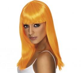 Peluca Melena Larga Lisa color Naranja Neón o Fluorescente