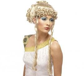Peluca Diosa Griega rubia con rizos y tirabuzones