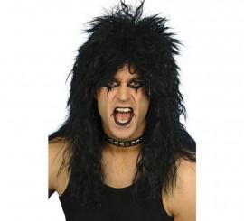 Peluca Melena Hard Rock Negra de los Años 80 para Hombre