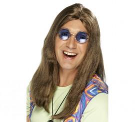 Peluca Hippy Larga Castaña con Raya en Medio para Hombre