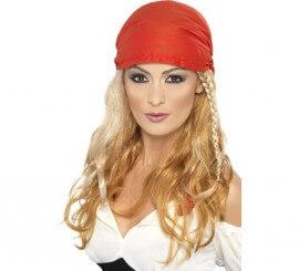 Perruque de Princesse Pirate Blonde avec bandana