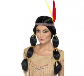 Perruque et Huppe d'Indienne à couettes Noire pour Femme