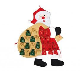 Calendario Adviento de papa Noel de 78 cm.