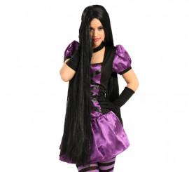 Peluca larga negra extra para Hallowen y Carnaval