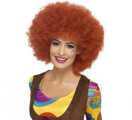 Peluca Hippy Afro Levantado color Caoba