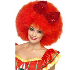 Perruque Clown Volumineuse Afro Rouge avec noeud