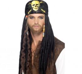 Peluca Negra de Rastas y Bandana para Pirata