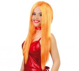 Peluca melena lisa naranja de Bruja para Halloween