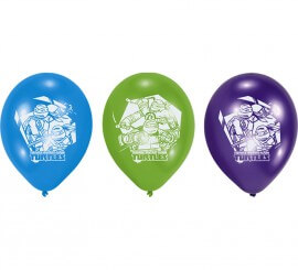 Pack de 6 Ballons en Latex des Tortues Ninja
