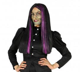 Perruque de Sorcière à mèches lilas Halloween