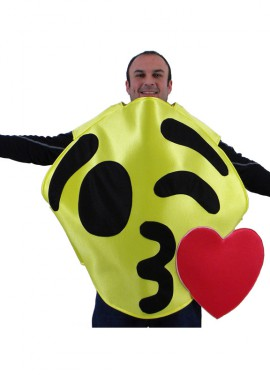 Disfraz de Emoticono Guiño con Beso amarillo para adultos
