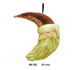 Cabeza Papa Noel dorado de 20 cms.
