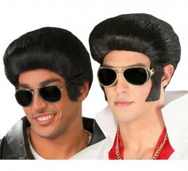 Peluca de Elvis o Rockero con tupé y patillas