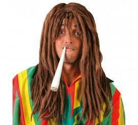 Peluca de Jamaicano Rastafari marrón con rastas