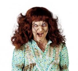 Peluca melena castaña Poseída de mujer para Halloween