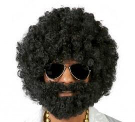Peluca afro negra con barba de Vagabundo