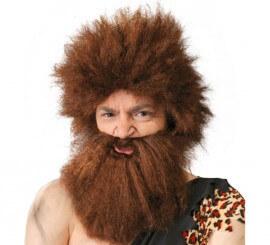 Peluca y barba marrón de Cavernícola o Troglodita
