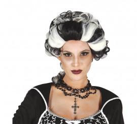Peluca de Marquesa Vampira blanca y negra para Halloween