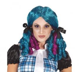 Perruque Bleu avec des boucles Fuchsia Halloween