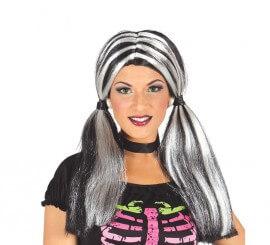 Peluca Negra y Blanca con coletas de Bruja para Halloween