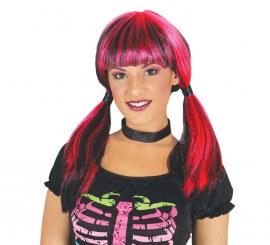Perruque Rouge et Noire à couettes pour Halloween
