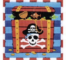 Pack de 16 Serviettes Trésor Pirate de 33x33cm