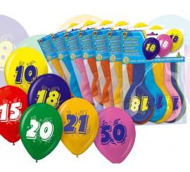 Bolsa de 10 globos con el número 6 impreso