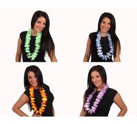 Collar Hawaiano flores de tela bicolor 4 surtidos