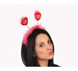 Diadema roja KISS ME con plumas