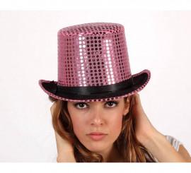 Sombrero de copa o Chistera rosa brillante