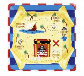 Pack de 8 Platos cuadrados del Tesoro Pirata de 17,7 cm