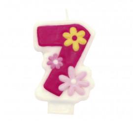 Vela Glamour Girl con el número 7 para cumpleaños
