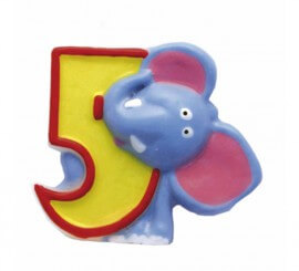 Vela de Animal del Safari con el número 5