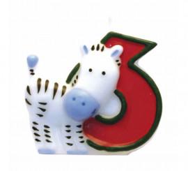 Vela de Animal del Safari con el número 6