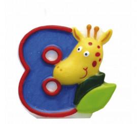 Vela de Animal del Safari con el número 8