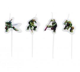 Blister de 4 velas en forma de las Tortugas Ninja Mutantes