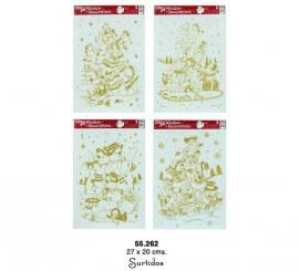 Adhesivas navideñas dorado 27x20 cms.