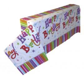Mantel Happy Birthday de plástico de 137x259 cm